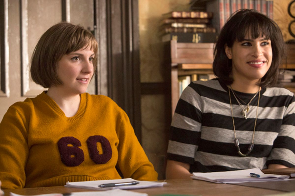 "Lena Dunham and Desiree Akhavan in ""Girls""        (HBO/Craig Blankenhorn)"