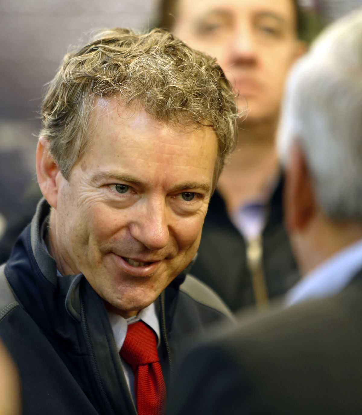 U.S. Sen. Rand Paul, R-Ky., meets with members of the Londonderry Fish and Game Club, Wednesday, Jan. 14, 2015, in Litchfield, N.H. (AP/Jim Cole)