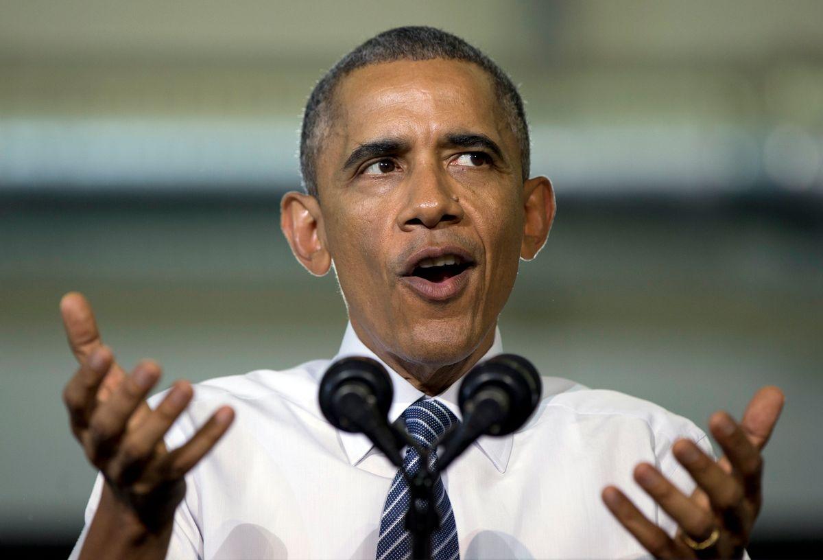 FILE - In this Jan. 21, 2015 photo, President Barack Obama speaks at Boise State University in Boise, Idaho.   (AP/Carolyn Kaster)
