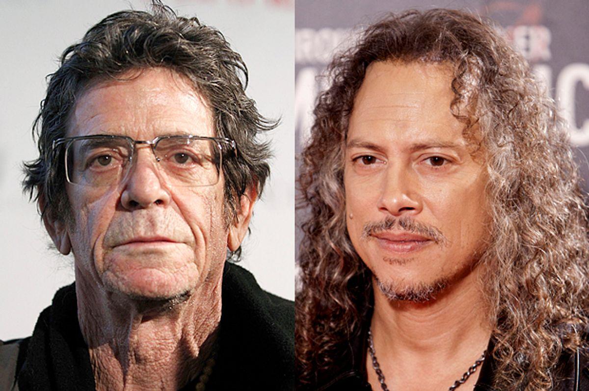 Lou Reed, Kirk Hammett       (Reuters/Jessica Rinaldi/AP/Abraham Caro Marin)