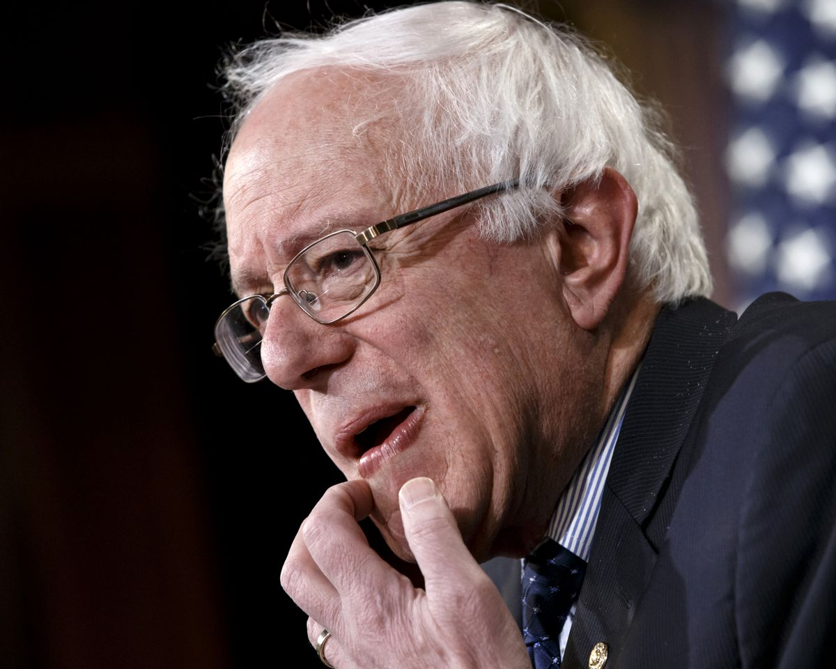 FILE - In this Jan. 16, 2015 photo, Sen. Bernie Sanders, I-Vt. gestures during a news conference on Capitol Hill in Washington.  (AP/J. Scott Applewhite)