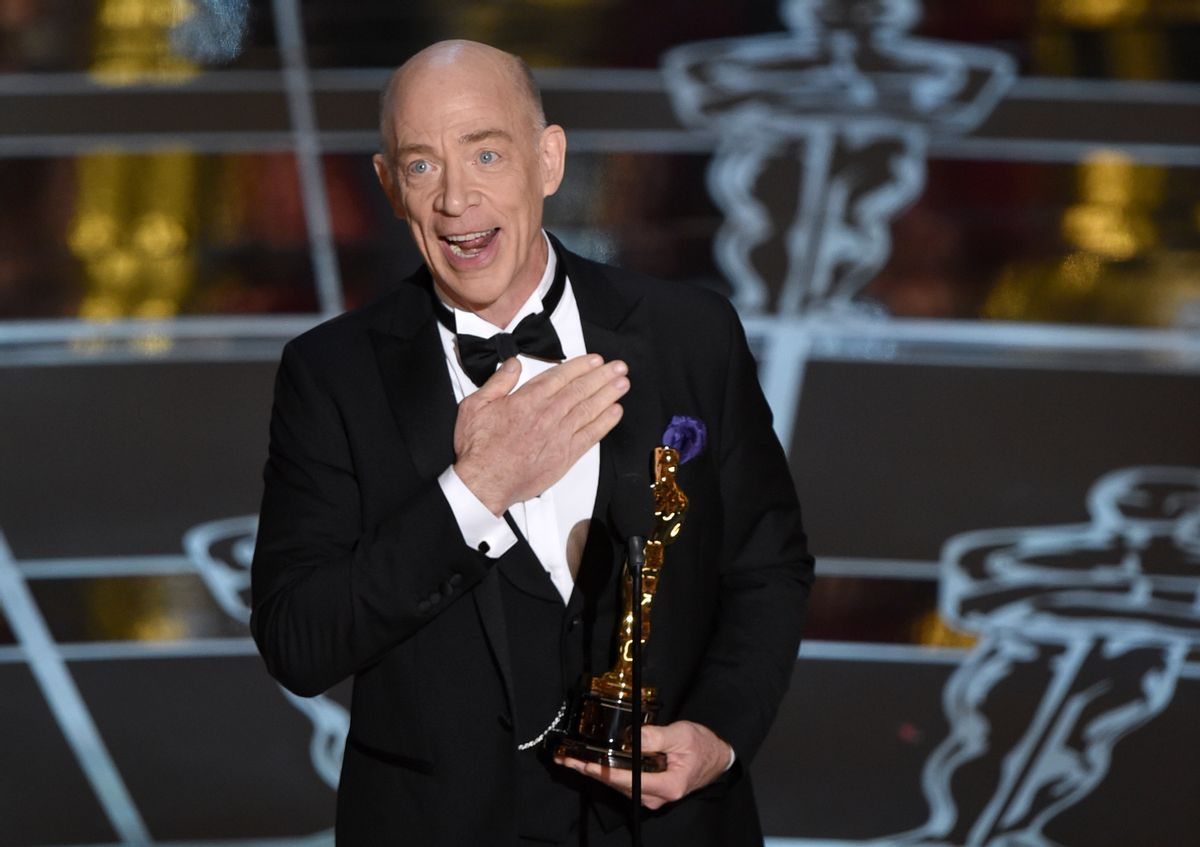 """J.K. Simmons accepts the award for best actor in a supporting role for """"Whiplash"""" at the Oscars on Sunday, Feb. 22, 2015, at the Dolby Theatre in Los Angeles. (Photo by John Shearer/Invision/AP) (John Shearer/invision/ap)"""