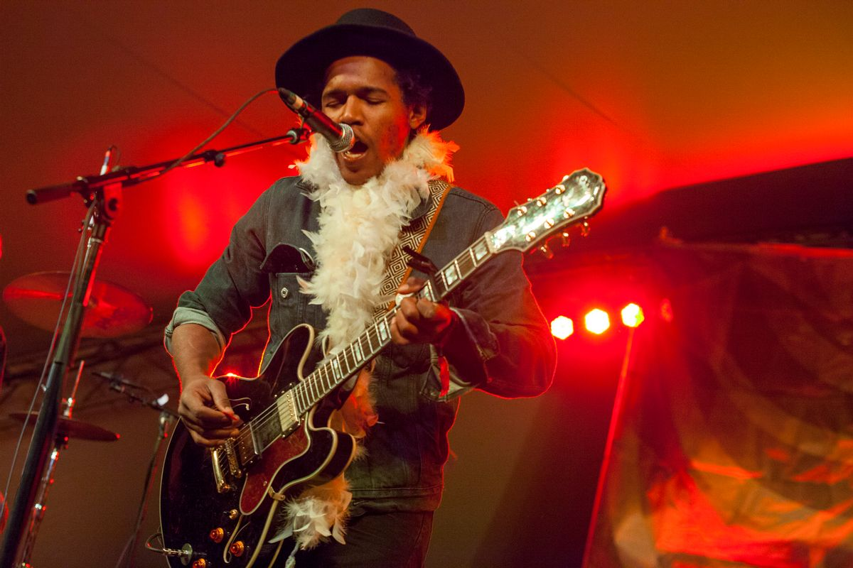 Singer and guitarist Benjamin Booker and his band performs at the Voodoo Music Experience on Saturday, Nov. 1, 2014, in New Orleans. (Photo by Barry Brecheisen/Invision/AP)       (Barry Brecheisen/invision/ap)