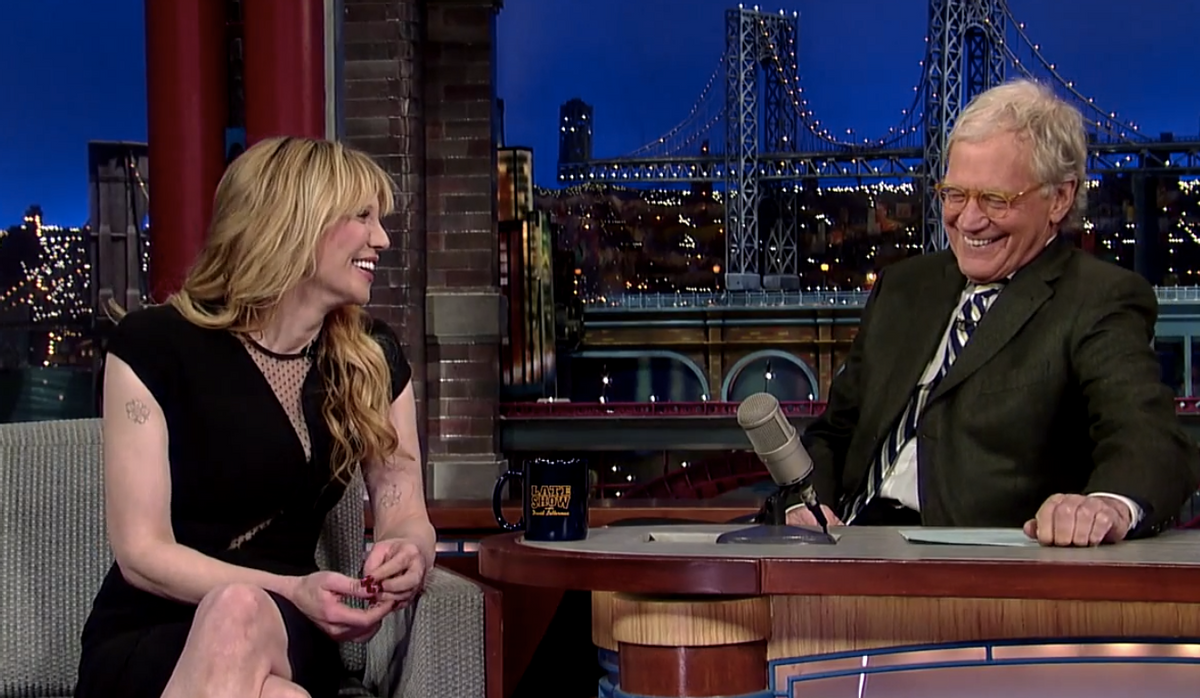 David Letterman and Courtney Love   (CBS)