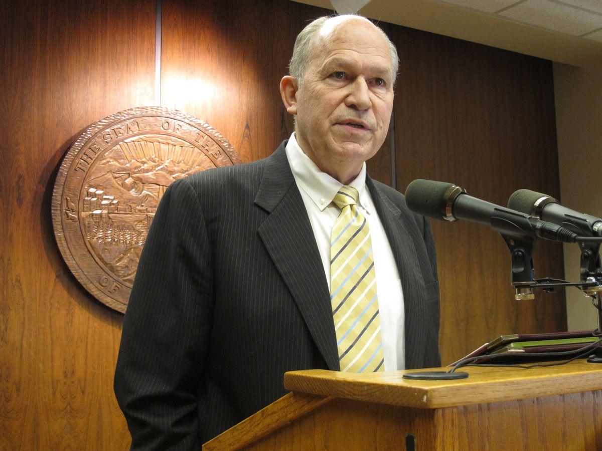 Gov. Bill Walker speaks to reporters after releasing details on his budget proposal for next year on Thursday, Feb. 5, 2015, in Juneau, Alaska. (AP Photo/Becky Bohrer) (AP)