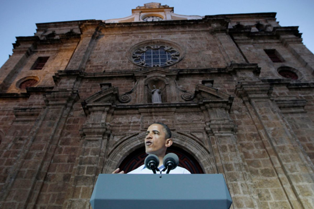 Barack Obama, speaking in front of the San Pedro Claver church in Cartagena, Colombia, April 15, 2012.          (AP/Carolyn Kaster/Photo montage by Salon)