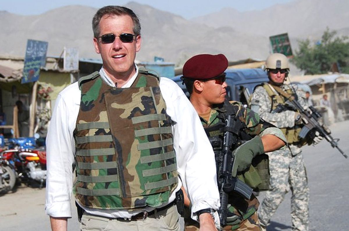 Brian Williams with U.S. Special Forces in Afghanistan, June 12, 2008                          (NBC/Subrata De)