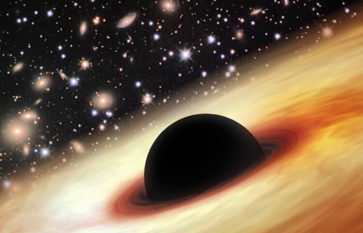 """""""An artist's impression of a quasar with a supermassive black hole in the distant universe,"""" from the University of Arizona (Zhaoyu Li/NASA/JPL-Caltech/Misti Mountain Observatory)"""