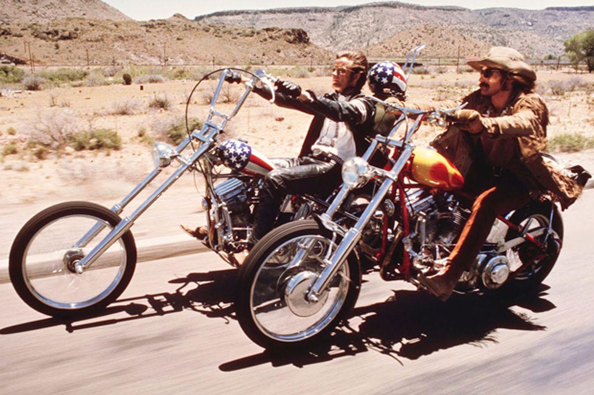 "Peter Fonda and Dennis Hopper in ""Easy Rider"""