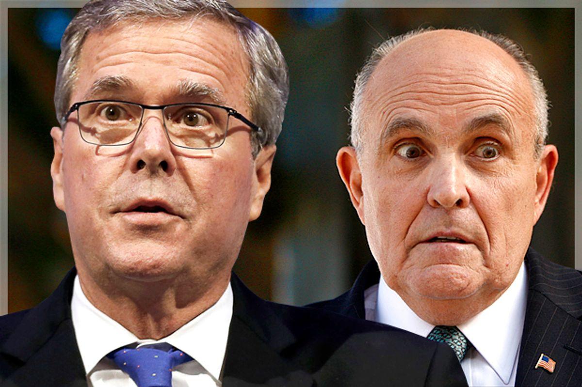 Jeb Bush, Rudy Giuliani    (Reuters/Rebecca Cook/AP/Damian Dovarganes/Photo montage by Salon)