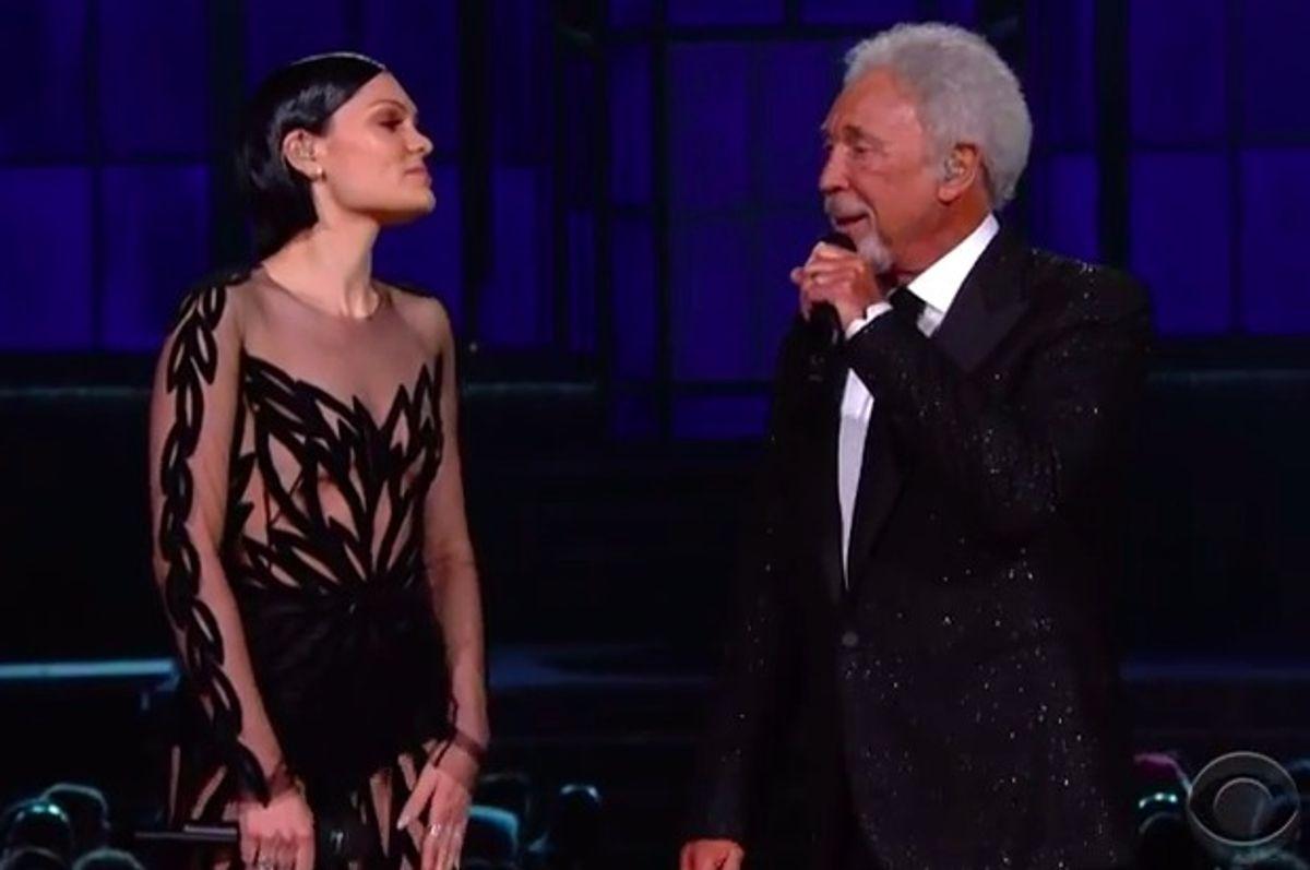 Jessie J and Tom Jones perform at the 2015 Grammy Awards.      (CBS)