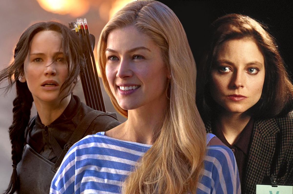 """Jennifer Lawrence in """"The Hunger Games: Mockingjay - Part 1"""", Rosamund Pike in """"Gone Girl"""", Jodie Foster in """"The Silence of the Lambs"""""""