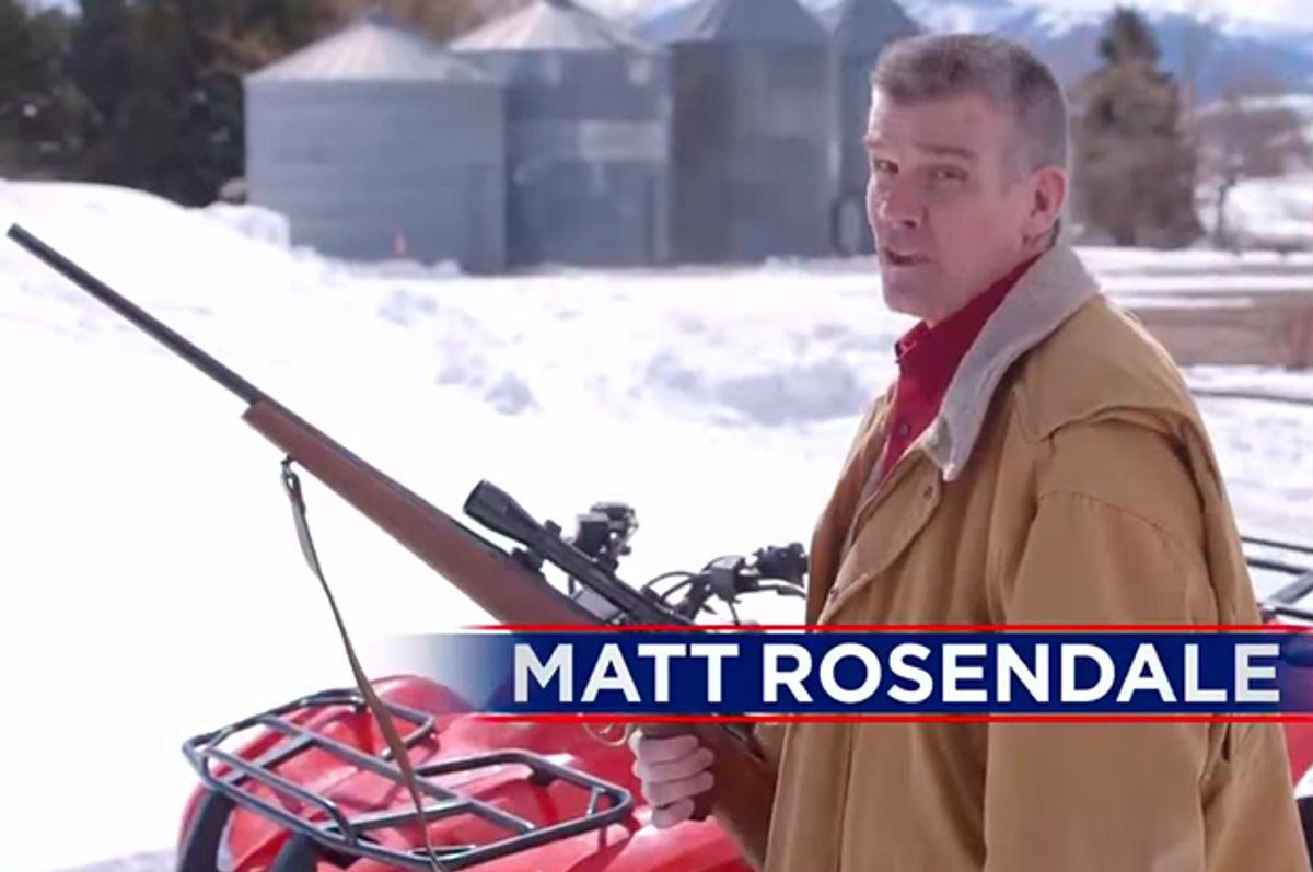 """A still from Matt Rosendale's ad """"Rifle Shot""""     (YouTube/Matt Rosendale)"""
