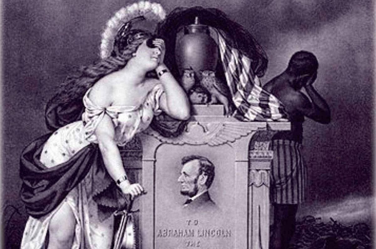 """A detail from the cover of """"Mourning Lincoln""""     (Yale University Press)"""