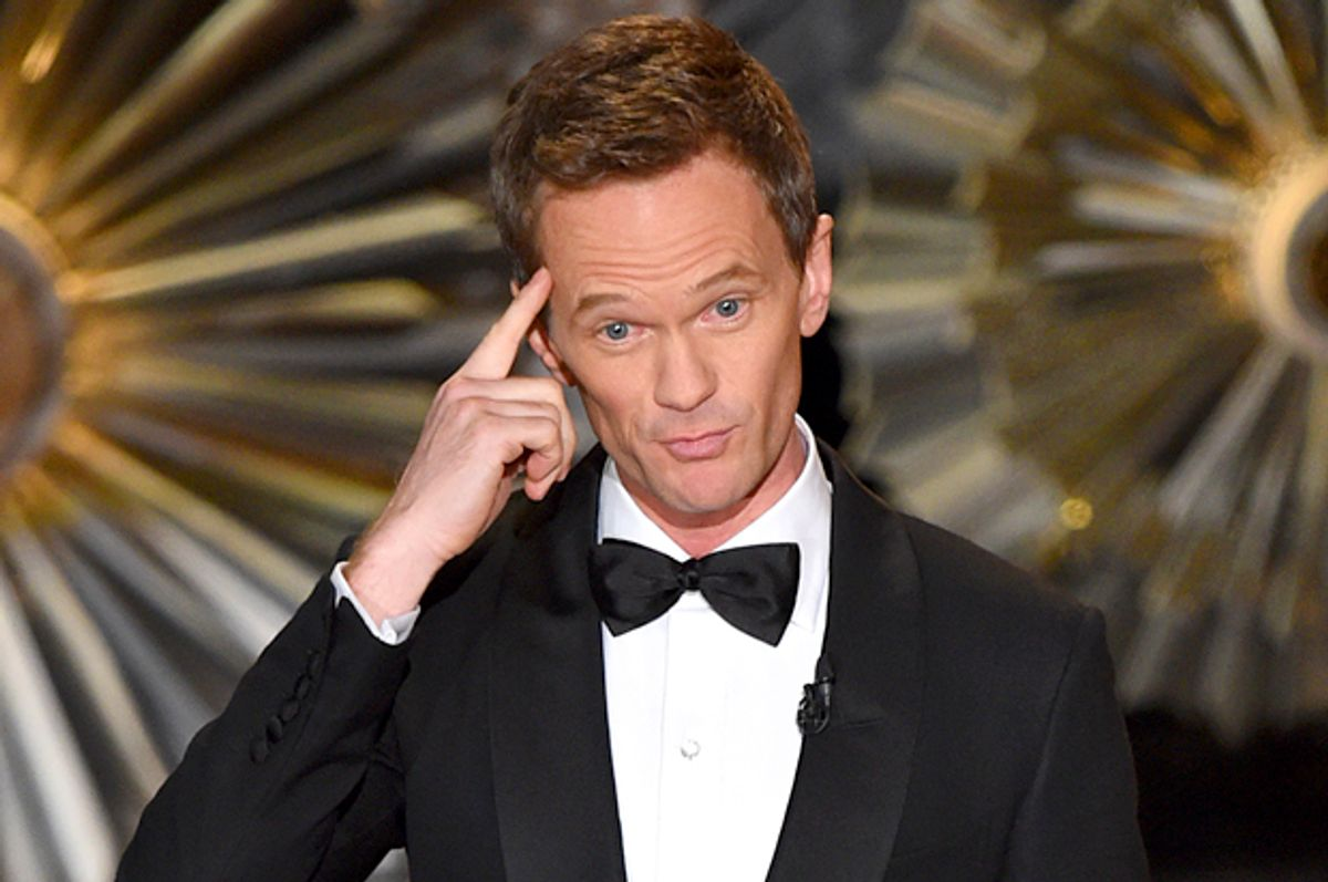 Host Neil Patrick Harris speaks on stage at the Oscars on Sunday, Feb. 22, 2015, at the Dolby Theatre in Los Angeles. (Photo by John Shearer/Invision/AP)        (John Shearer)
