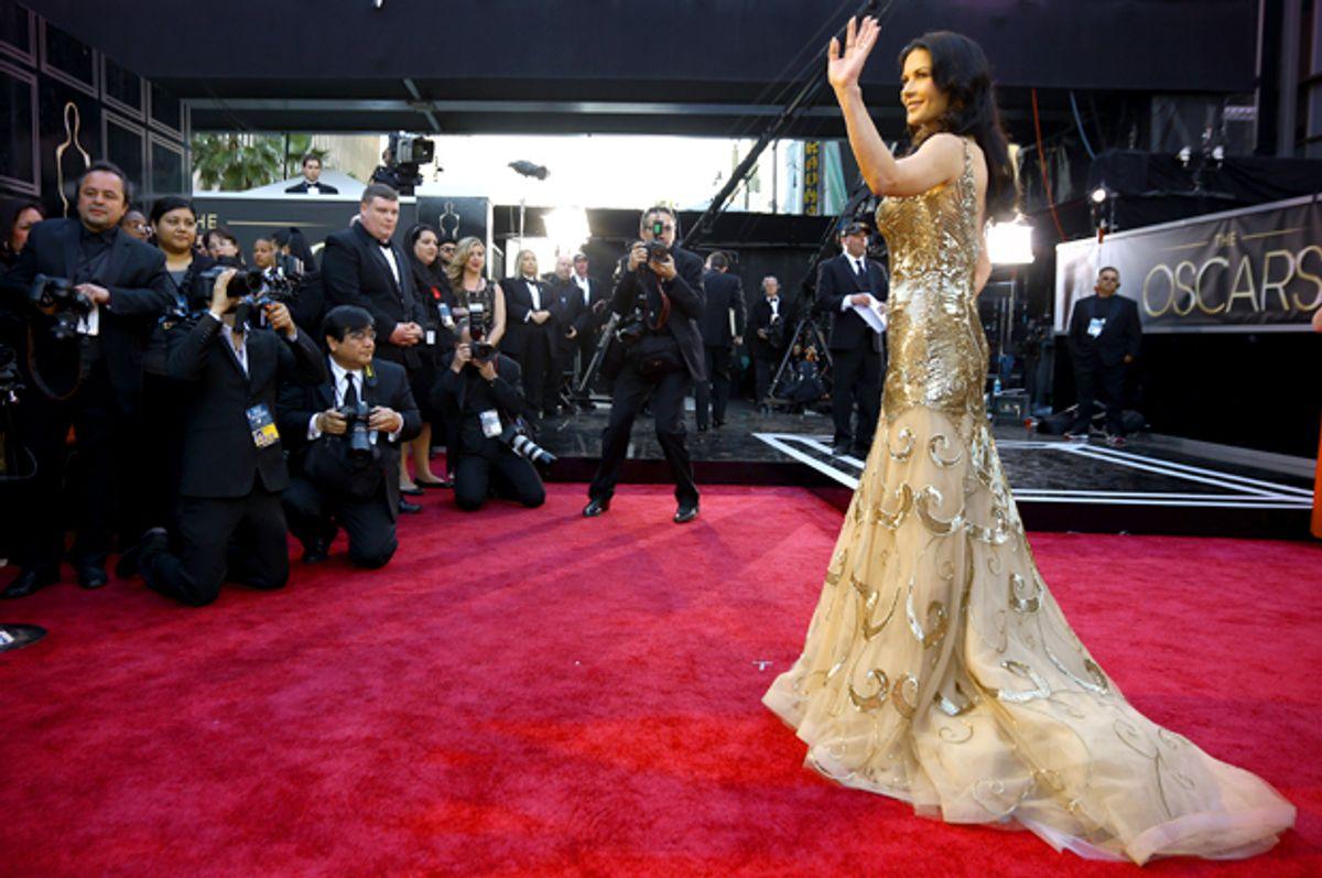 Catherine Zeta-Jones arrives at the Oscars, Feb. 24, 2013.           (AP/Matt Sayles)