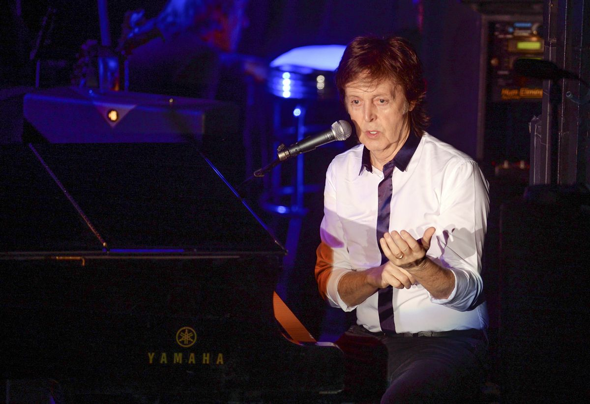Paul McCartney and his band perform a secret Valentine's Day concert at Irving Plaza on Saturday, Feb. 14, 2015, in New York. (Photo by Evan Agostini/Invision/AP)  (Evan Agostini/invision/ap)