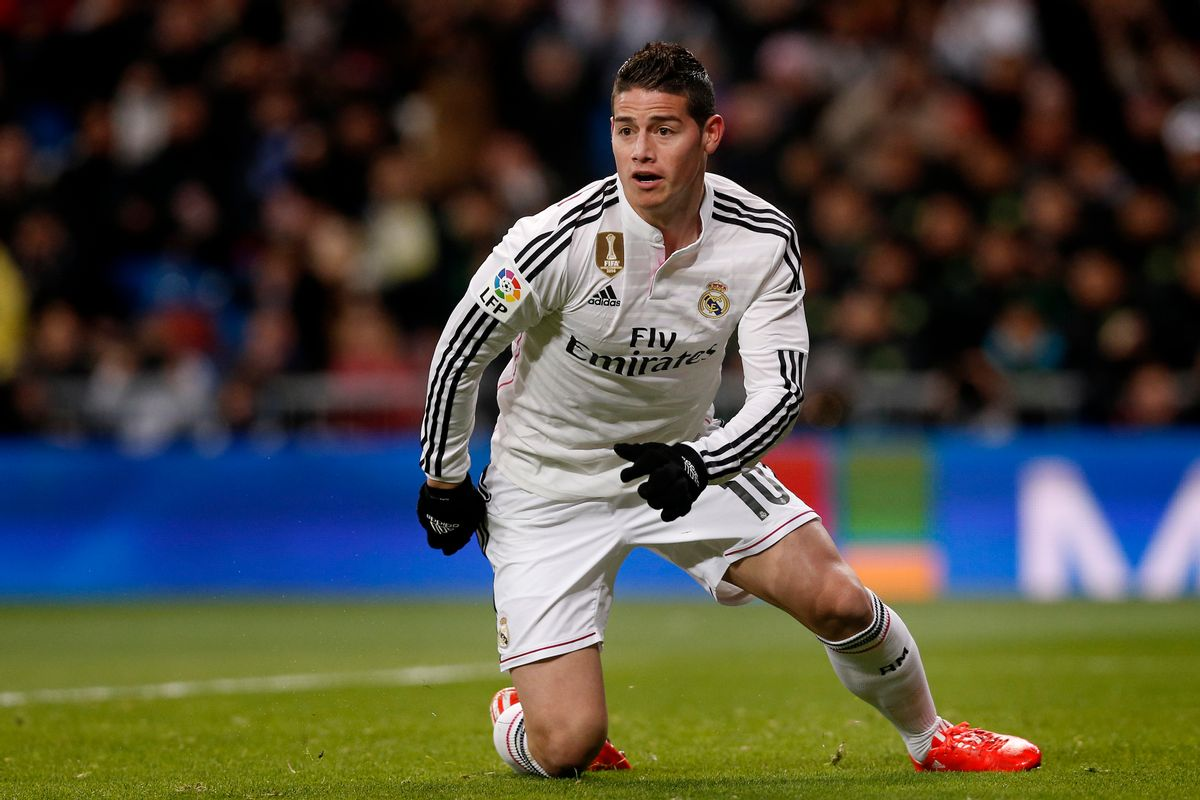 James Rodriguez from Colombia celebrates after scoring a goal during a Spanish La Liga soccer match between Real Madrid and Sevilla at the Santiago Bernabeu stadium in Madrid, Spain, Wednesday, Feb. 4, 2015. (AP Photo/Daniel Ochoa de Olza) (AP)
