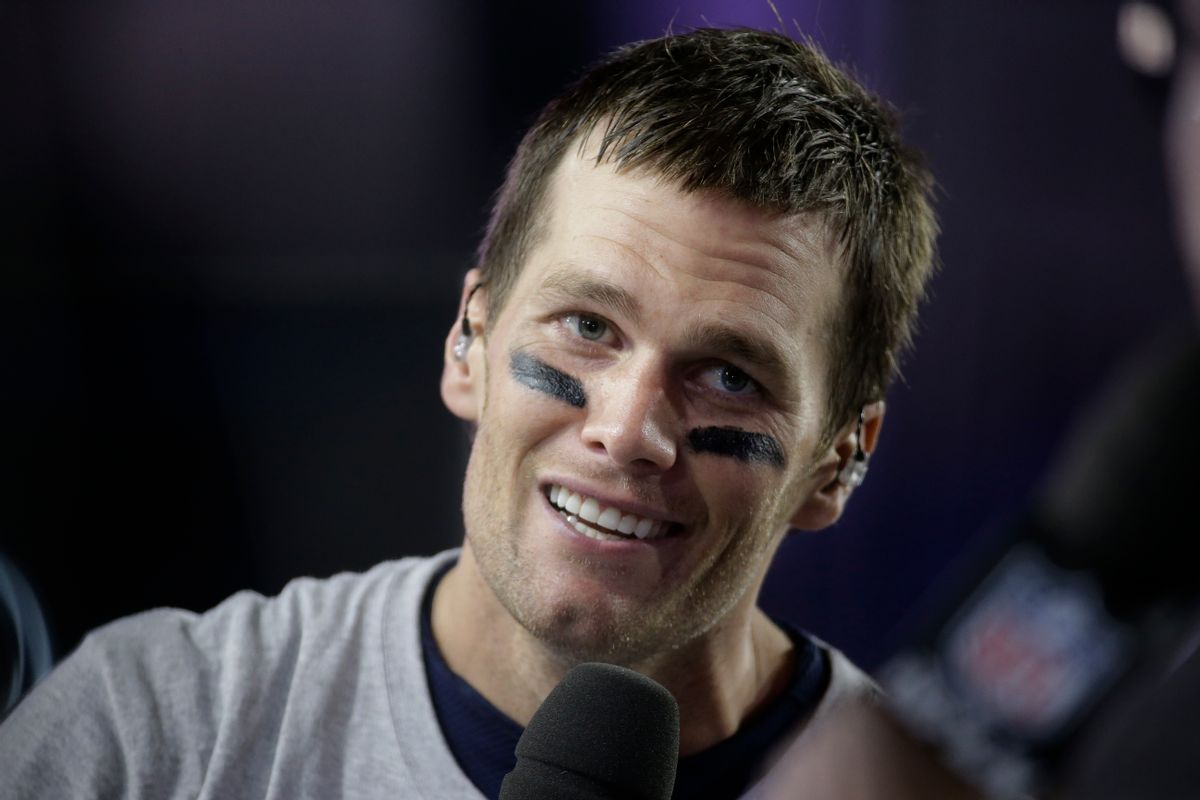 New England Patriots quarterback Tom Brady (12) responds to questions during a news interview after the NFL Super Bowl XLIX football game against the Seattle Seahawks Sunday, Feb. 1, 2015, in Glendale, Ariz. The Patriots won the game 28-24.   (AP/Mark Humphrey)