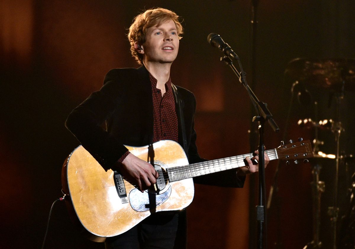 Beck performs at the 57th annual Grammy Awards on Sunday, Feb. 8, 2015, in Los Angeles. (Photo by John Shearer/Invision/AP)  (John Shearer/invision/ap)
