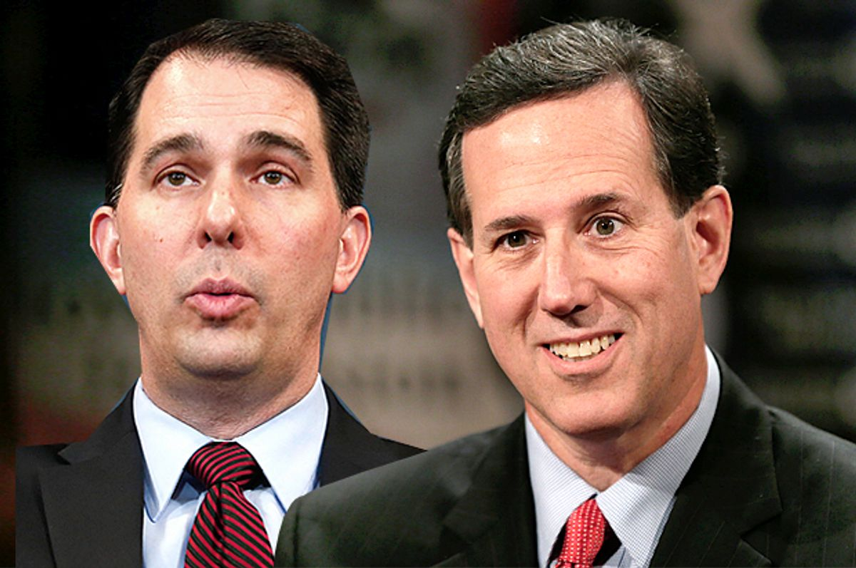 Scott Walker, Rick Santorum             (Reuters/Yuri Gripas/AP/Charlie Neibergall/Photo montage by Salon)