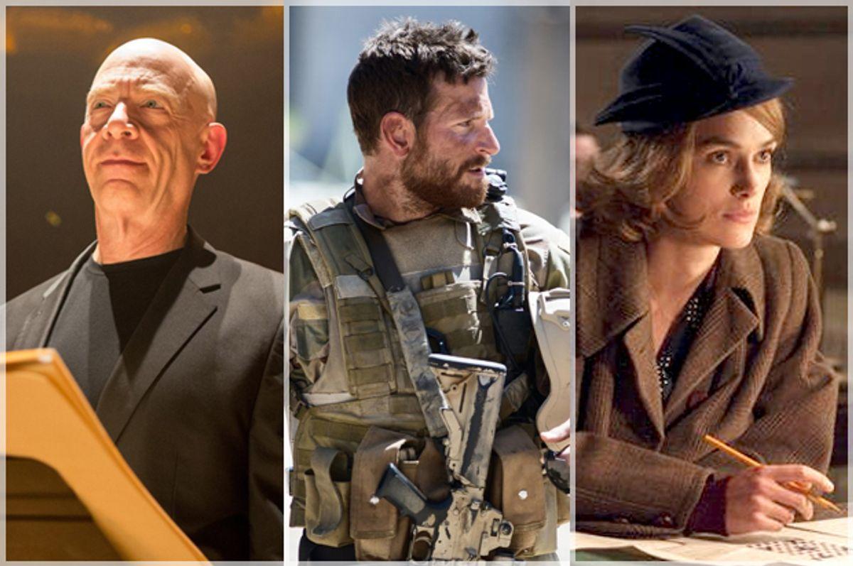 "J.K. Simmons in ""Whiplash,"" Bradley Cooper in ""American Sniper,"" Keira Knightley in ""The Imitation Game"""