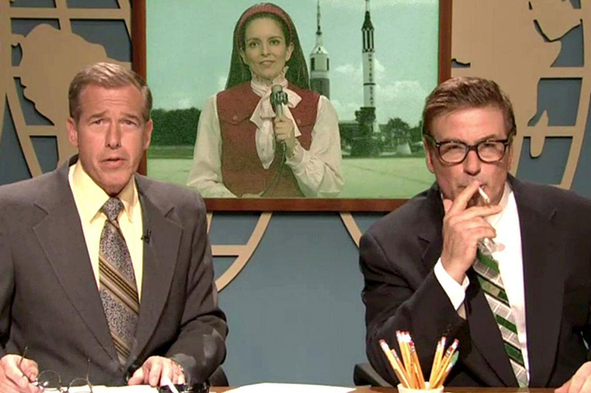 "Brian Williams on ""Saturday Night Live"" with Tina Fey and Alec Baldwin       (NBC)"