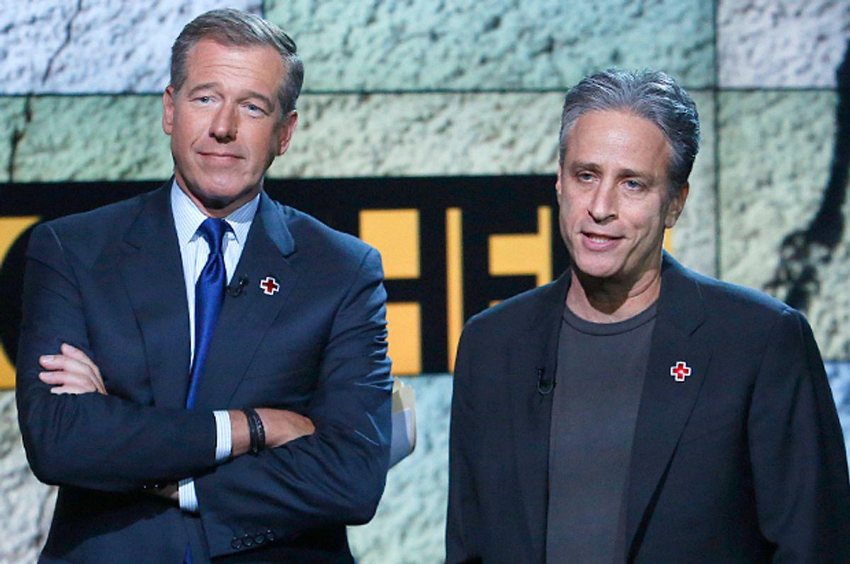 Brian Williams, Jon Stewart    (AP/Heidi Gutman)