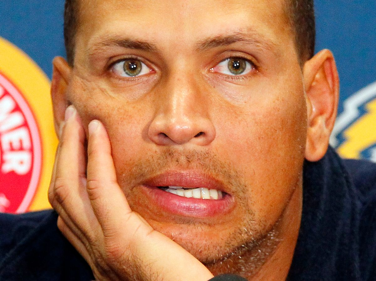 """FILE - In this Aug. 2, 2013, file photo New York Yankees' Alex Rodriguez answers questions from the media at a news conference following a Class AA baseball game with the Trenton Thunder against the Reading Phillies in Trenton, N.J. Alex Rodriguez has issued a handwritten apology """"for the mistakes that led to my suspension"""" but has turned down New York's offer to use Yankee Stadium for a news conference and has failed to detail any specifics about his use of performance-enhancing drugs. (AP Photo/Tom Mihalek, File) (AP)"""