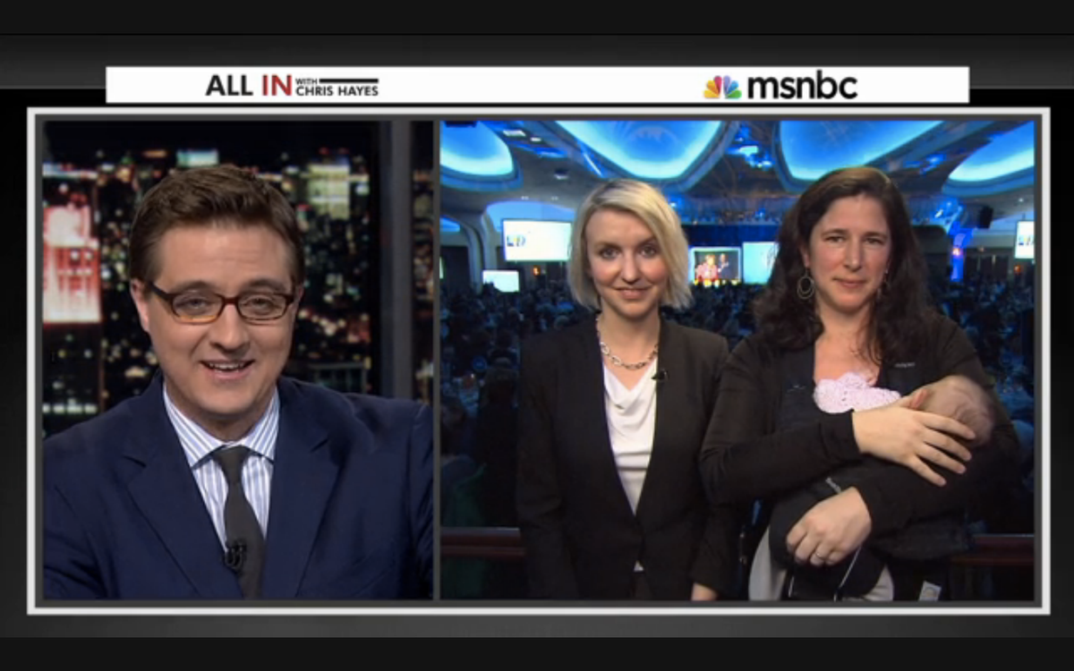 """Chris Hayes, Jess McIntosh and Rebecca Traister appear with Traister's daughter, Bella, on """"All In with Chris Hayes""""   (MSNBC/""""All In with Chris Hayes"""")"""