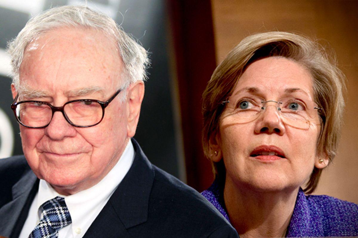 Warren Buffet, Elizabeth Warren       (Reuters/Lucas Jackson/AP/Jacquelyn Martin/Photo montage by Salon)