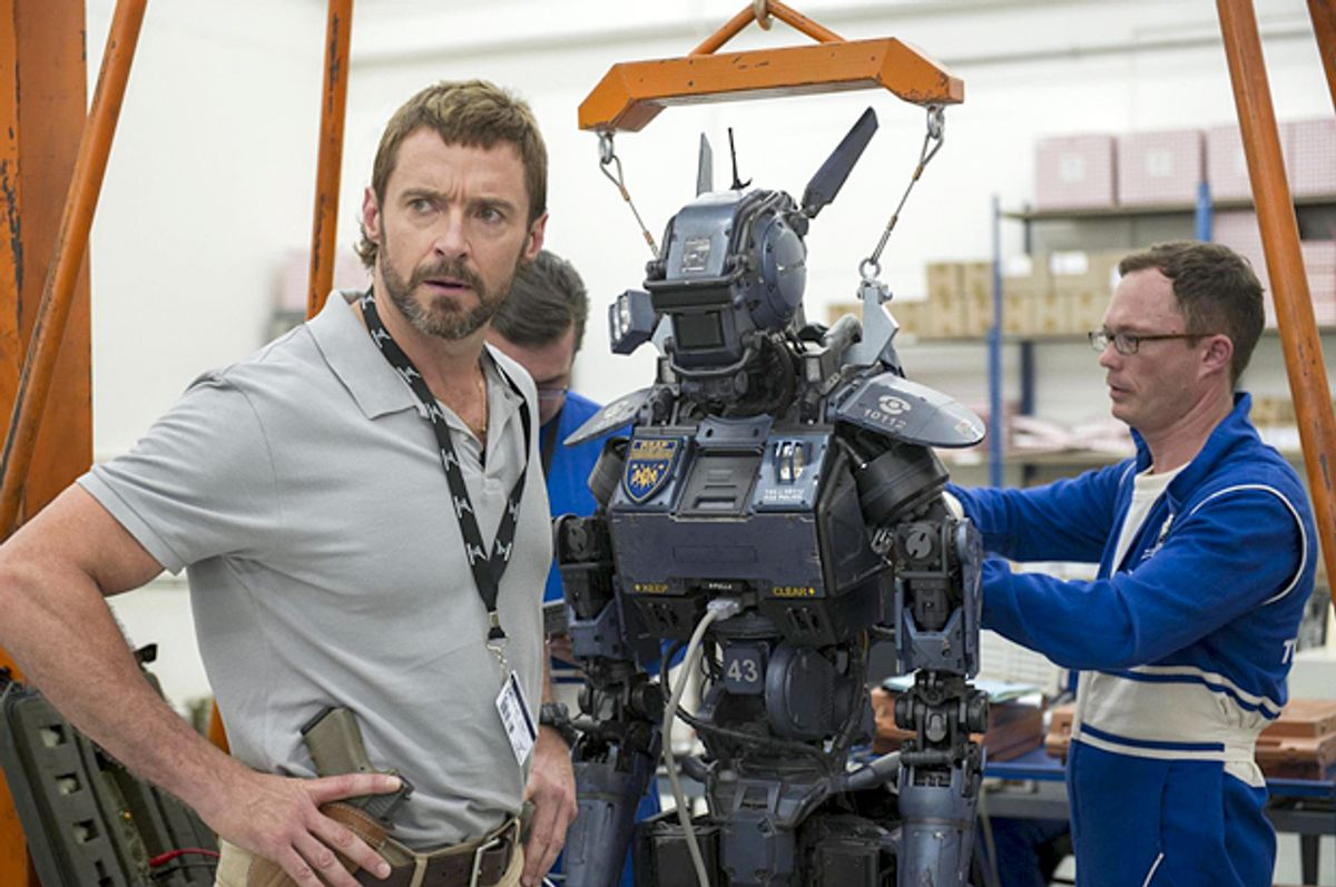 """Hugh Jackman and Chappie in """"Chappie""""      (Columbia Pictures)"""