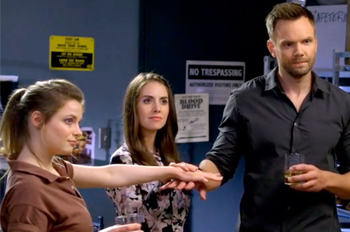 "Gillian Jacobs, Alison Brie, and Joel McHale in ""Community""         (Yahoo)"