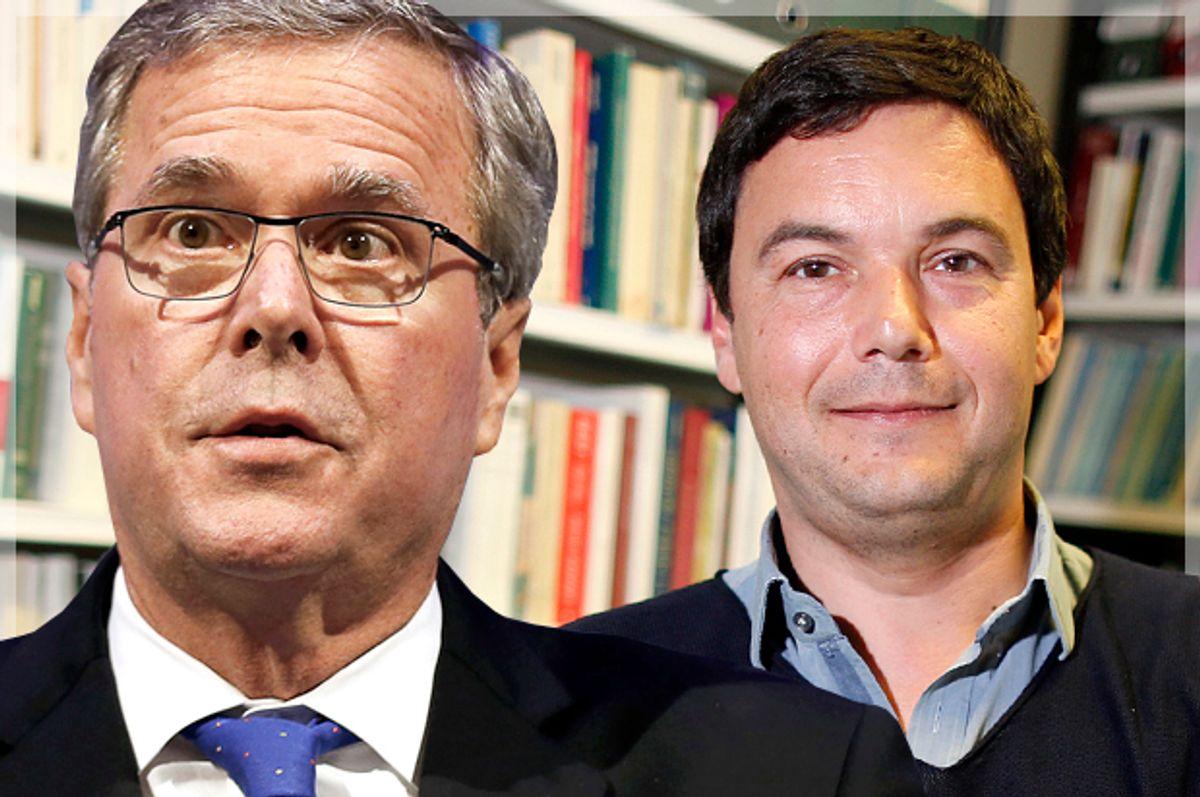 Jeb Bush, Thomas Piketty         (Reuters/Rebecca Cook/Charles Platiau/Photo montage by Salon)