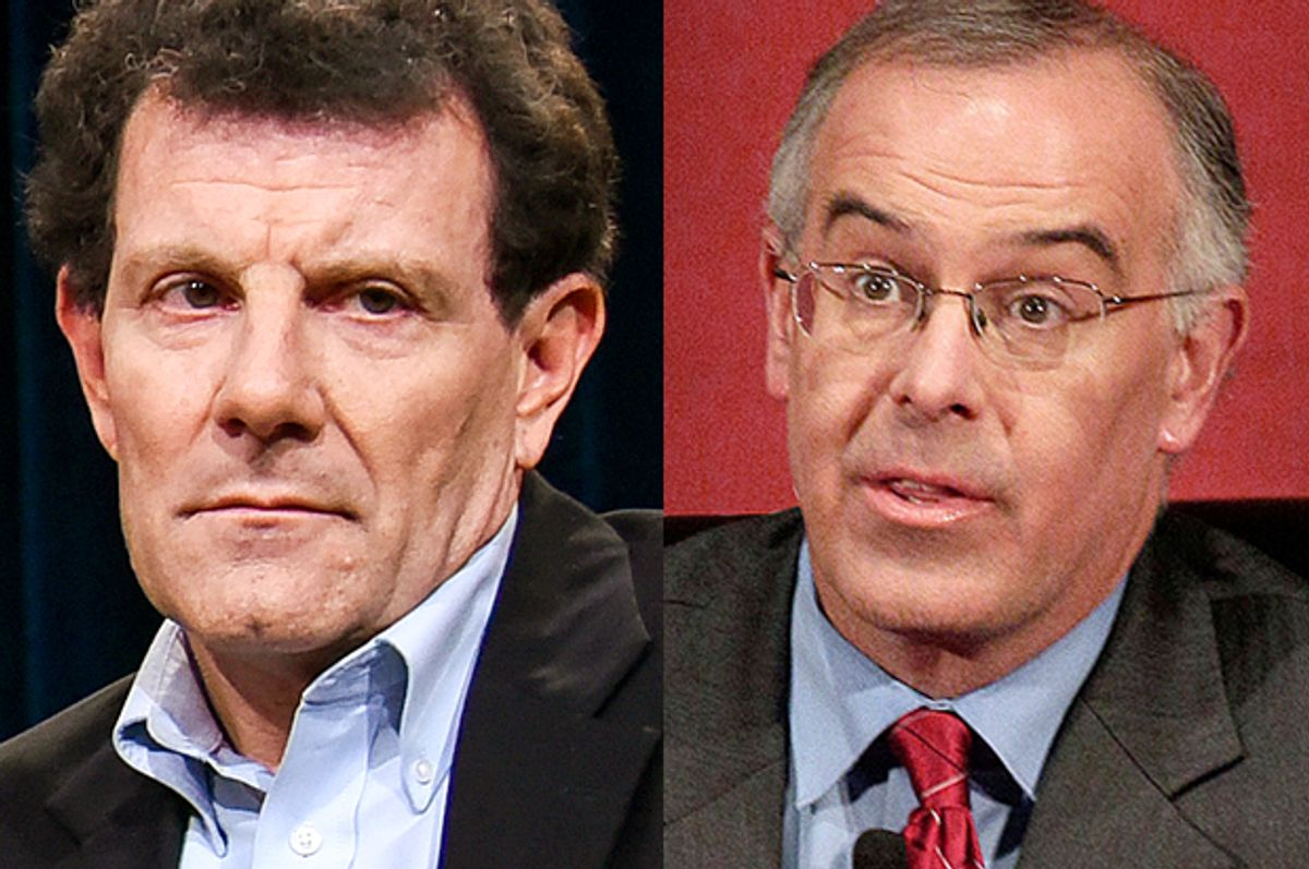 Nicholas Kristof, David Brooks         (AP/Richard Shotwell/Nam Y. Huh)