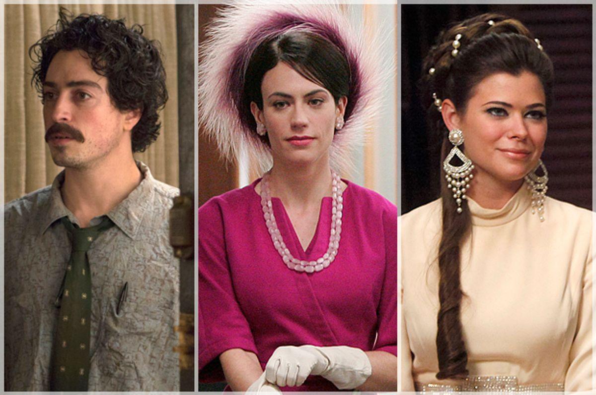 "Ben Feldman as Michael Ginsberg; Maggie Siff as Rachel Menken; Peyton List as Jane Sterling on ""Mad Men""            (AMC)"