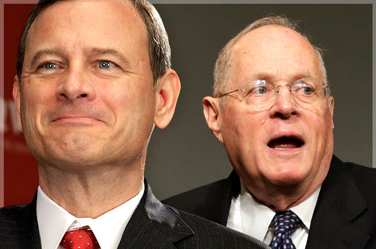 Justices John Roberts and Anthony Kennedy       (AP/Michael Conroy/Matt Slocum/Photo montage by Salon)