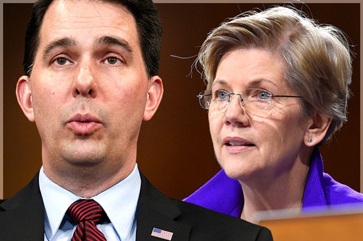 Scott Walker, Elizabeth Warren                          (Reuters/Yuri Gripas/AP/Susan Walsh/Photo montage by Salon)