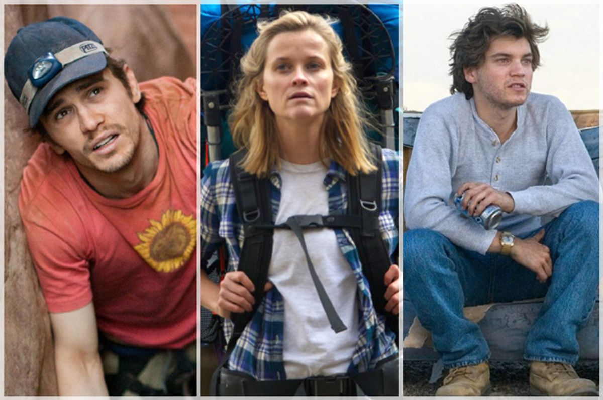 """James Franco in """"127 Hours,""""  Reese Witherspoon in """"Wild,"""" Emile Hirsch in """"Into the Wild"""""""