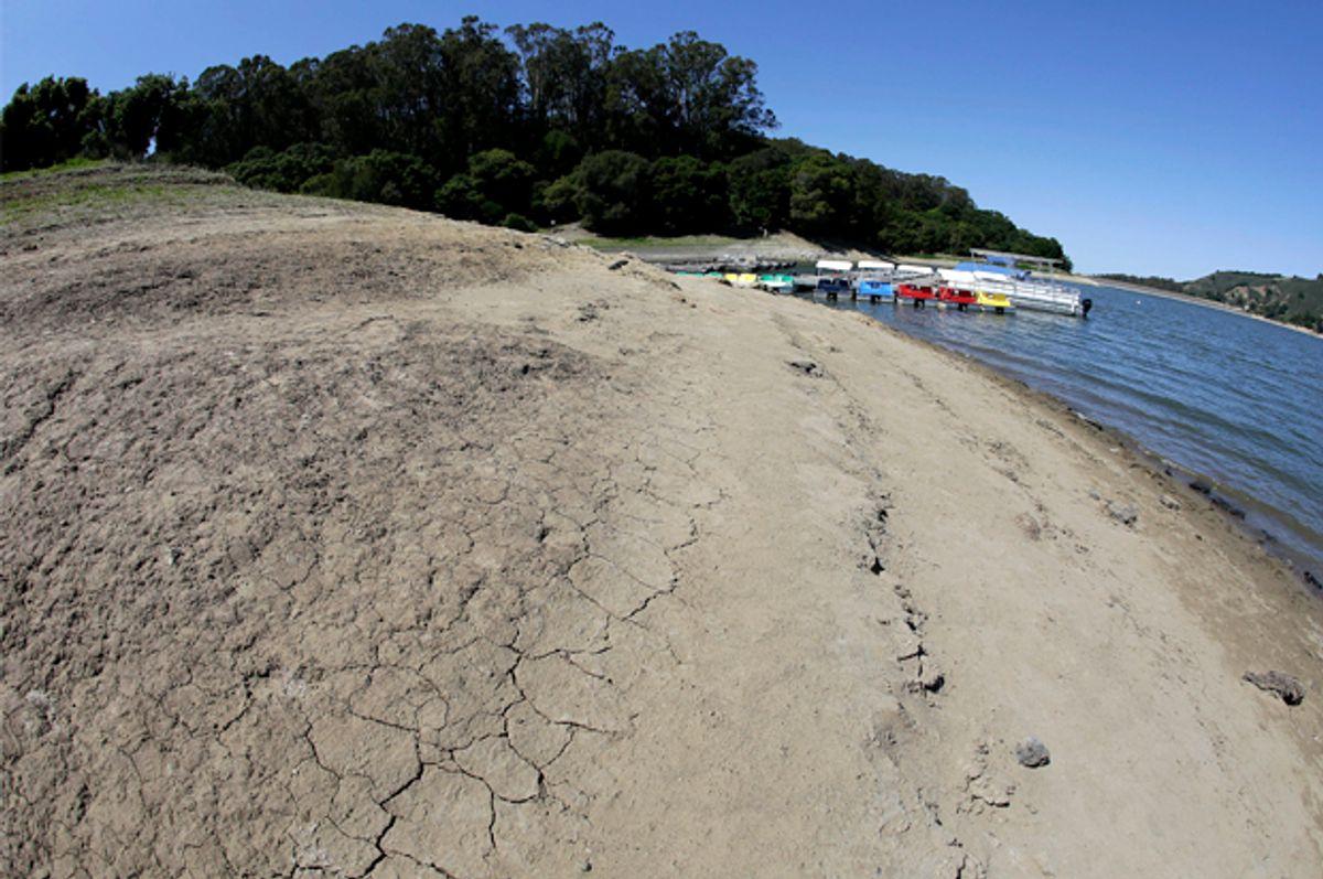 The dried shore at San Pablo Reservoir Recreation Area in El Sobrante, Calif., Thursday, April 2, 2015.       (AP/Eric Risberg)