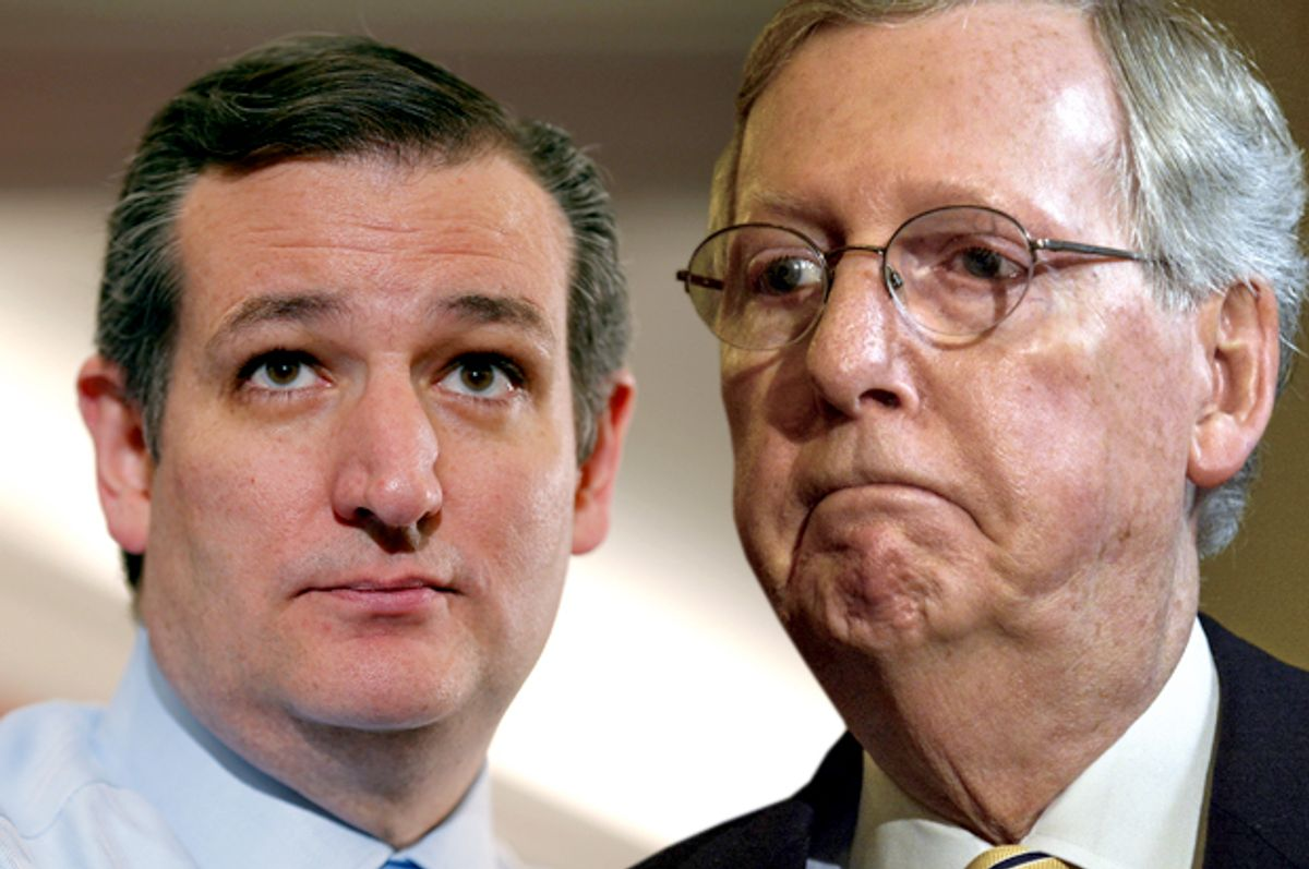 Ted Cruz, Mitch McConnell   (Reuters/Brian Snyder/James Lawler Duggan/Photo montage by Salon)