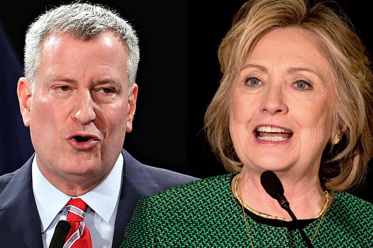 Bill Bill de Blasio, Hillary Clinton             (AP/Richard Drew/Reuters/Brendan McDermid)