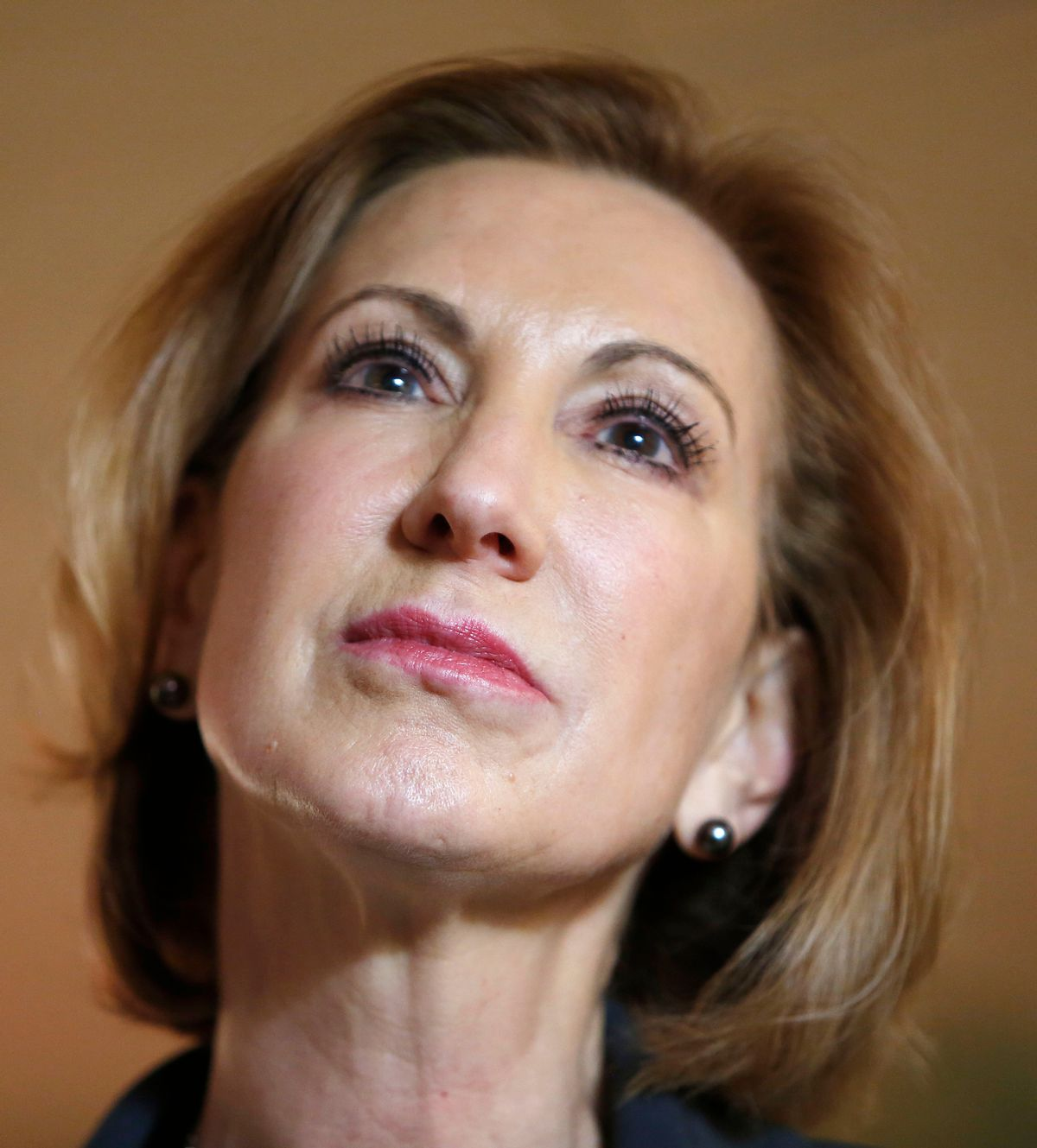 Former Hewlett-Packard CEO Carly Fiorina listens to questions during a business luncheon with New Hampshire Republican lawmakers, Tuesday, April 28, 2015, in Concord, N.H. (AP Photo/Jim Cole)  (AP)