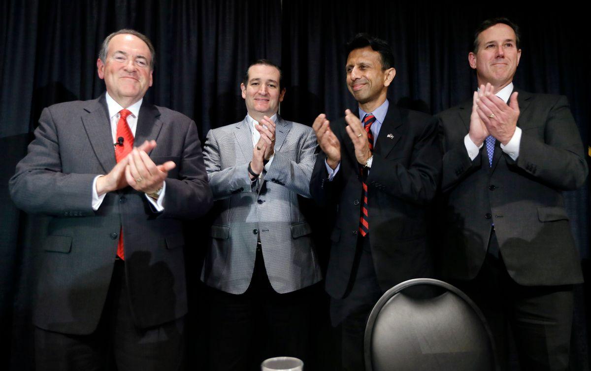 Former Arkansas Gov. Mike Huckabee, from left, U.S. Sen. Ted Cruz, R-Texas, Louisiana Gov. Bobby Jindal and former Pennsylvania Sen. Rick Santorum gather on stage after speak at the Homeschool Iowa's Capitol Day, Thursday, April 9, 2015, in Des Moines, Iowa. (AP Photo/Charlie Neibergall)      (AP)