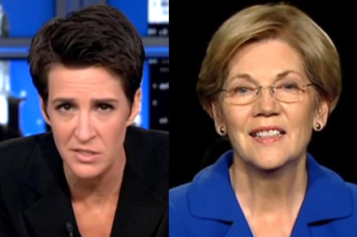 Rachel Maddow and Elizabeth Warren (Screen shot)