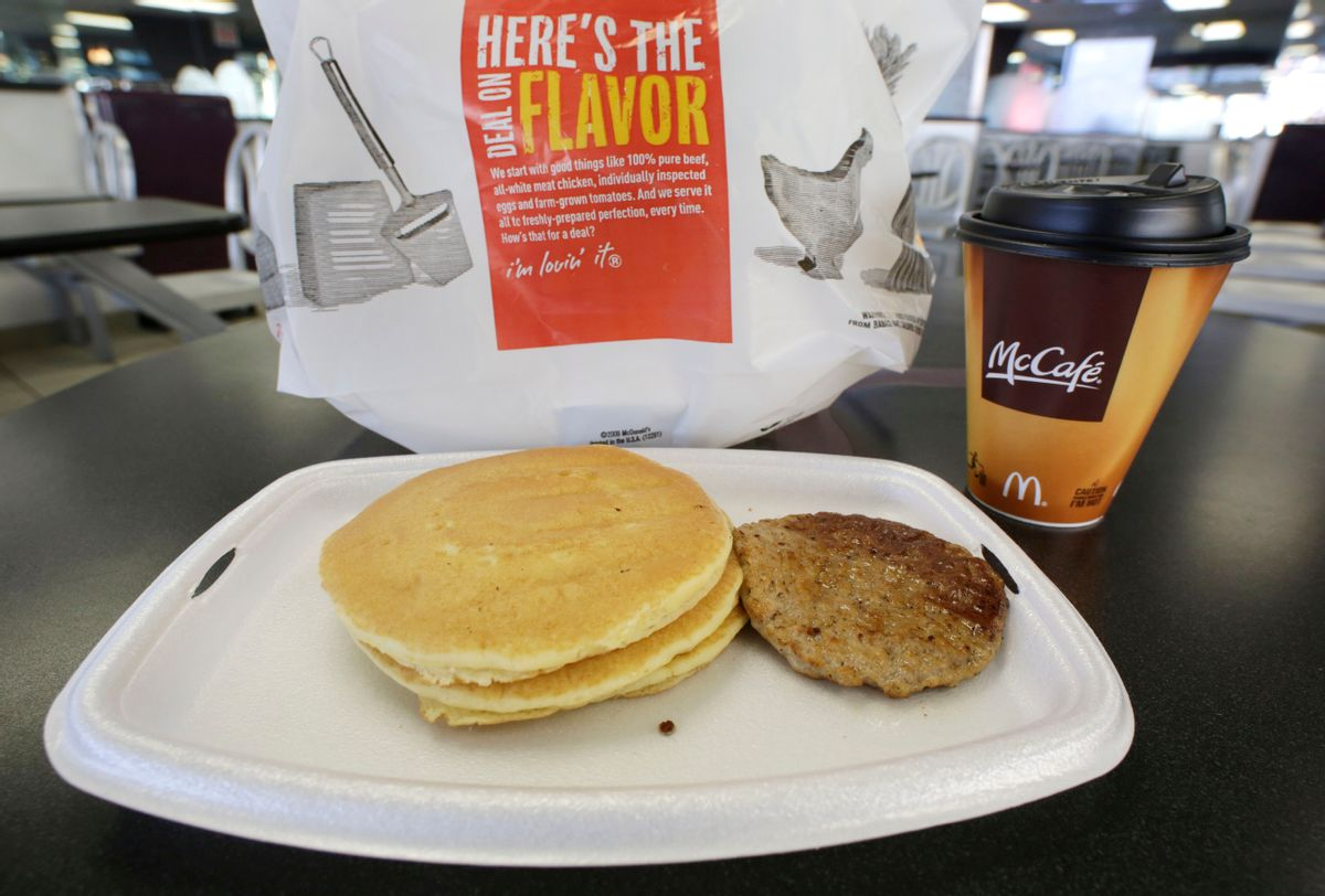 FILE - In this Feb. 14, 2013 file photo, a McDonald's breakfast is arranged for an illustration  at a McDonald's restaurant in New York.  After decades of complaints from customers that breakfast wasn't available past 10:30 a.m., McDonald's is testing an all-day breakfast menu in San Diego. If successful, it's just one way the company could boost customer traffic. (AP Photo/Mark Lennihan) (AP)