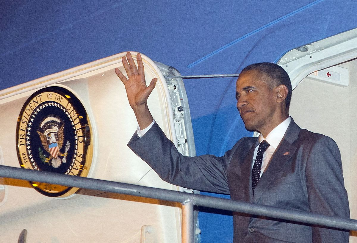 U.S. President Barack Obama waves during his arrival on Air Force One Thursday, April 9, 2015, at Tocumen International Airport in Panama City, Panama. (AP Photo/Pablo Martinez Monsivais) (AP)