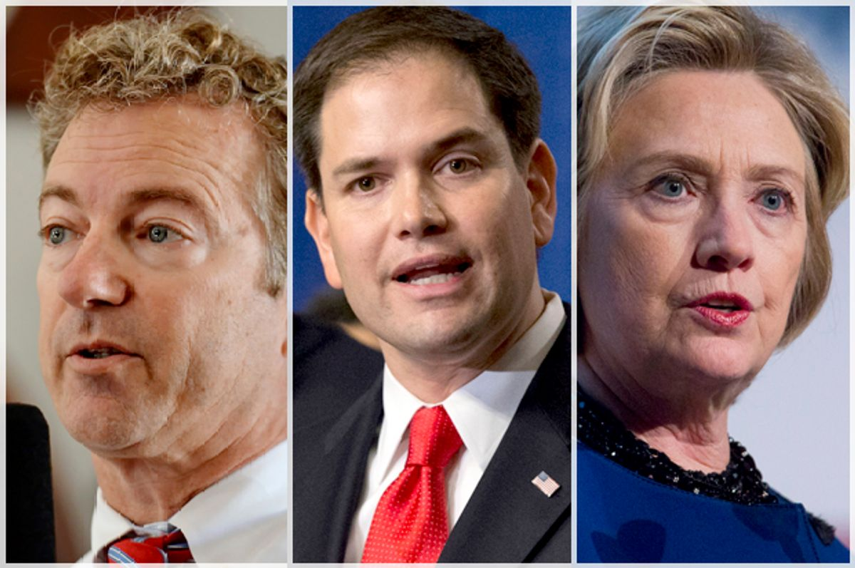 Rand Paul, Marco Rubio, Hillary Clinton                 (AP/Richard Shiro/J. Scott Applewhite/Jin Lee)