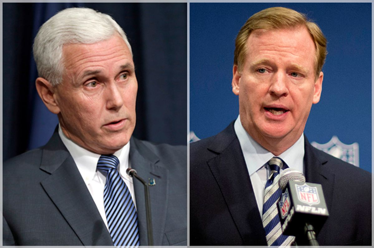 Mike Pence, Roger Goodell        (AP/Michael Conroy/David Goldman)
