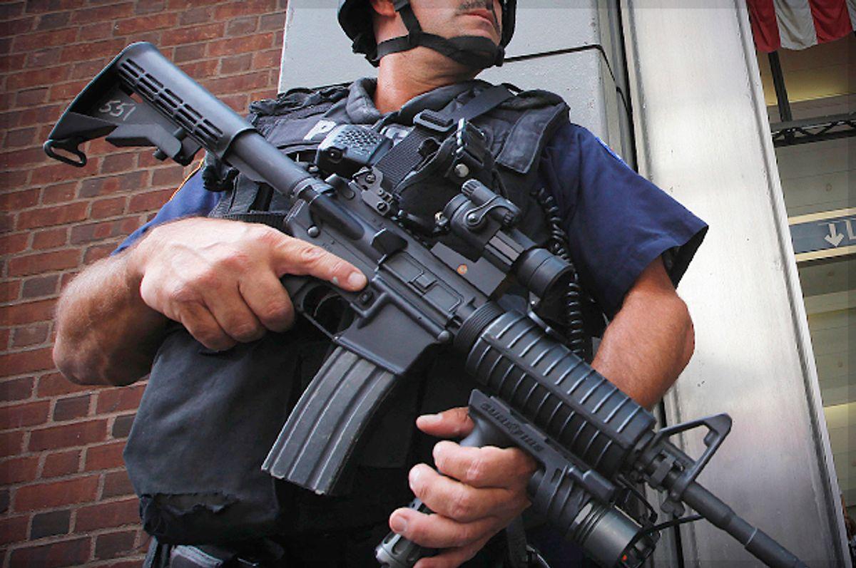 A police officer in Lower Manhattan, Sept. 8, 2011.   (Reuters/Lucas Jackson)